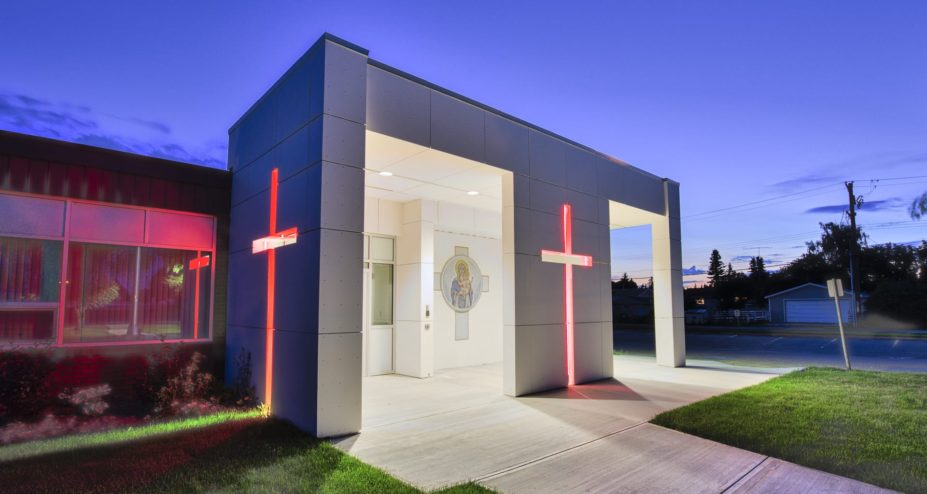 StMarys School-entrance with crosses lit up