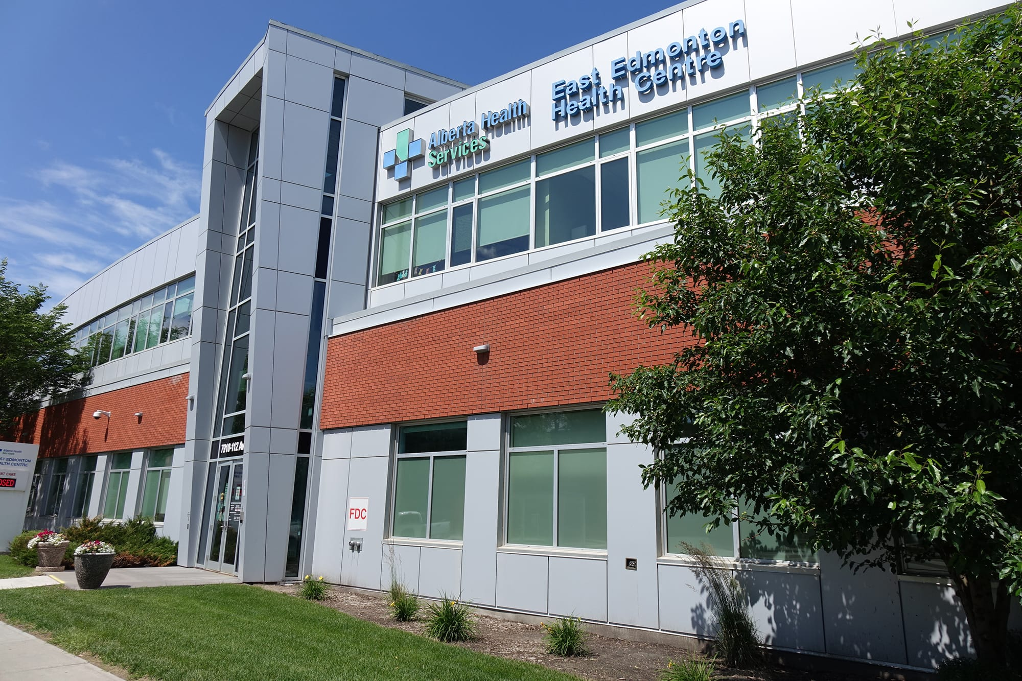 East Edmonton Health Care Centre exterior looking up with signage