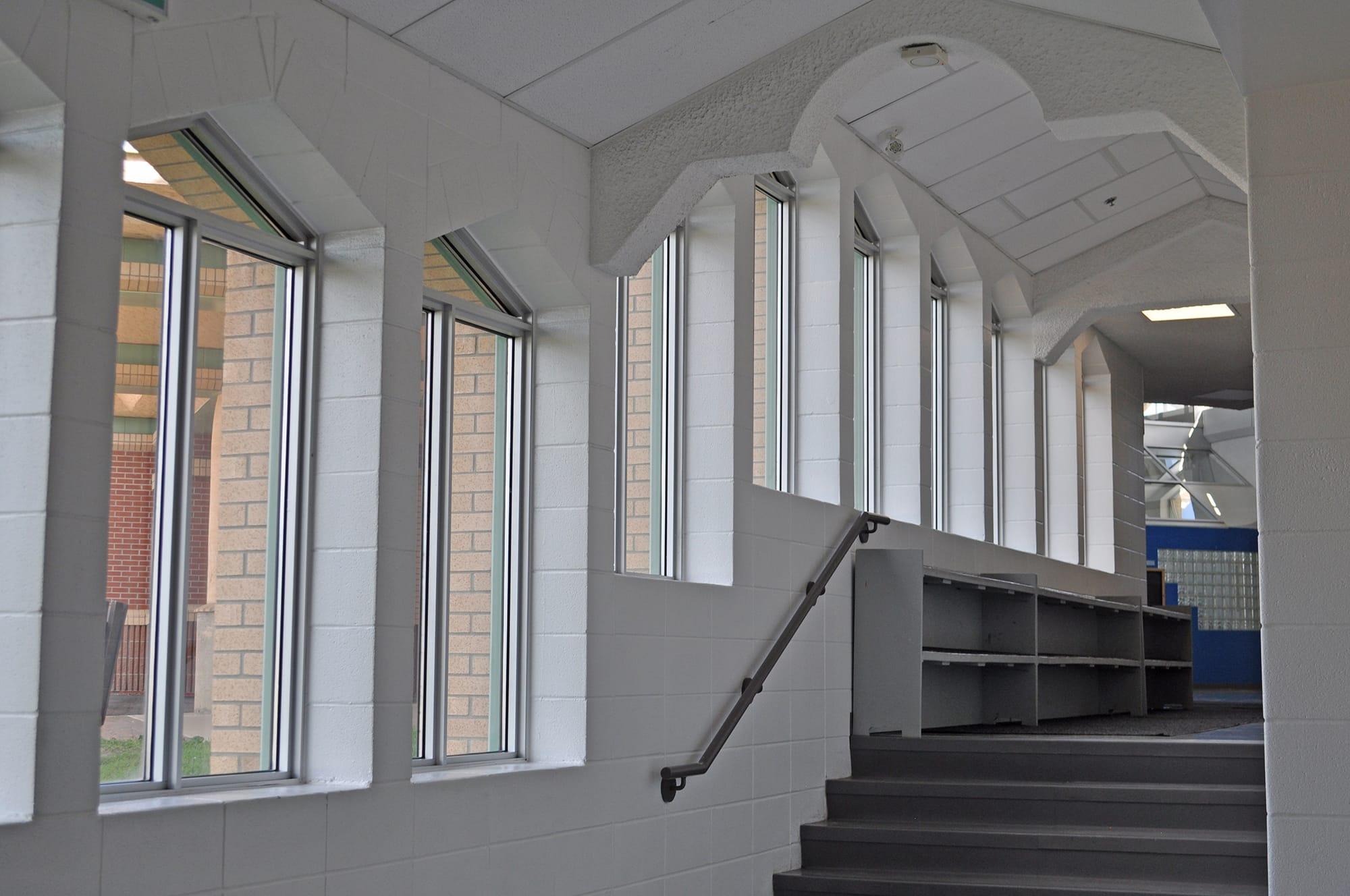 École Montrose Junior High School interior stairway
