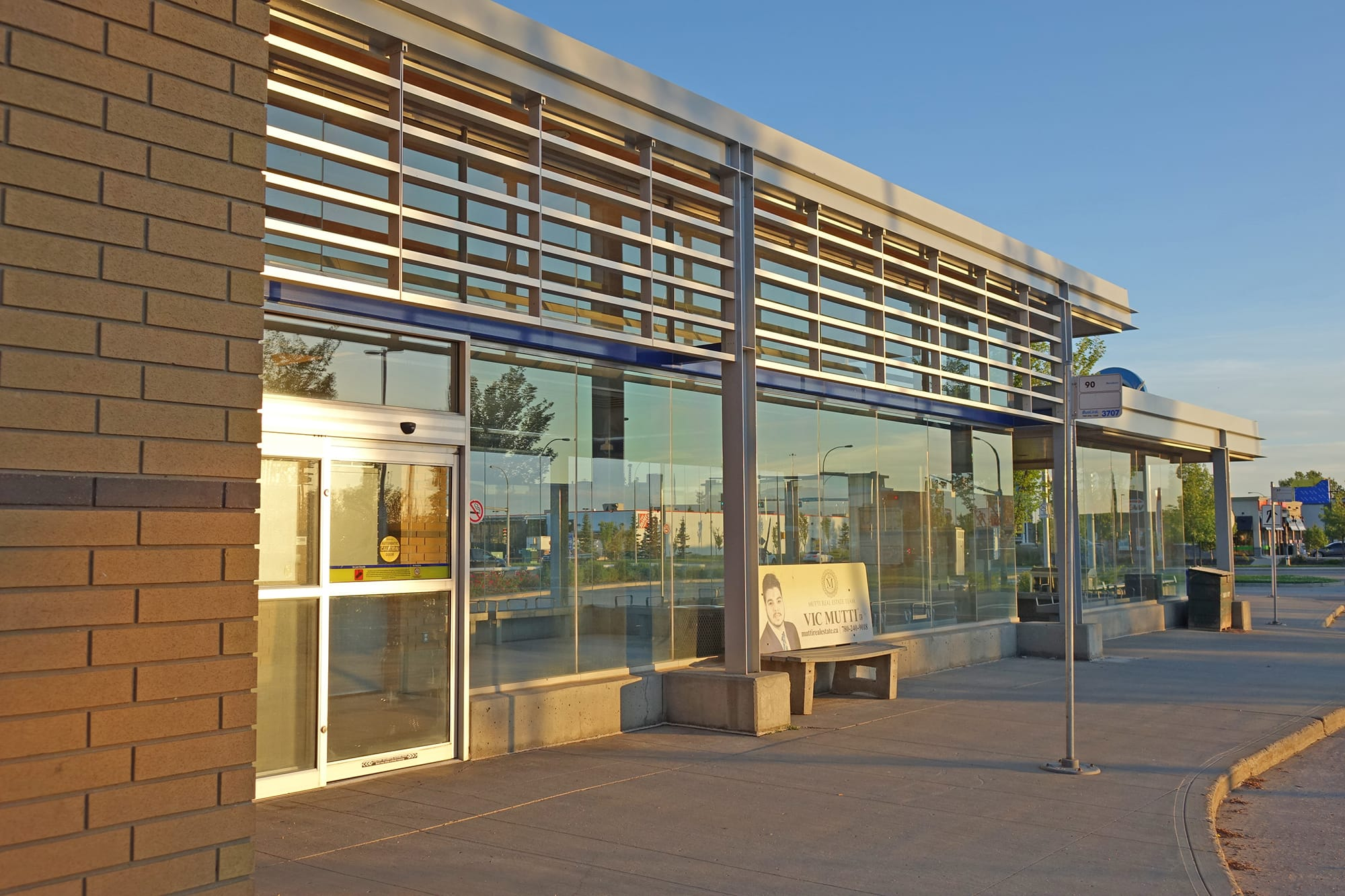 Meadows Transit Centre exterior near dark