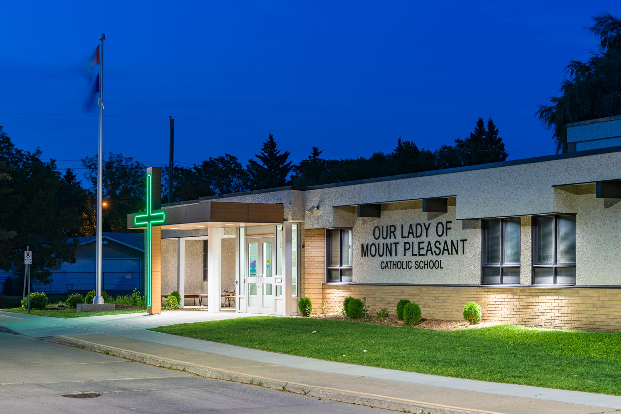 Our Lady of Mount Pleasant School exterior at night