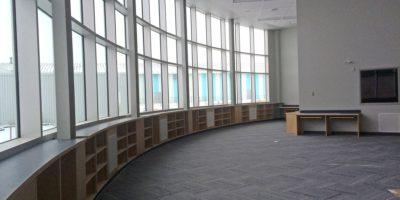 Robert W Zahara Public School interior floor to ceiling windows