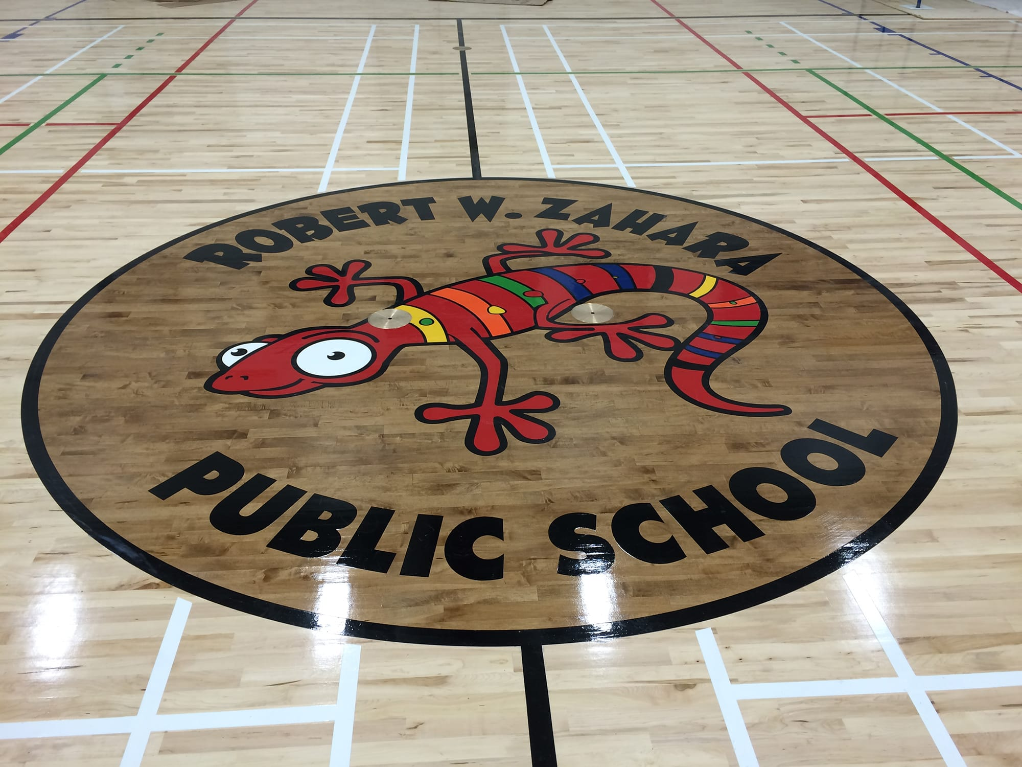 Robert W Zahara Public School interior centre court of the gymnasium