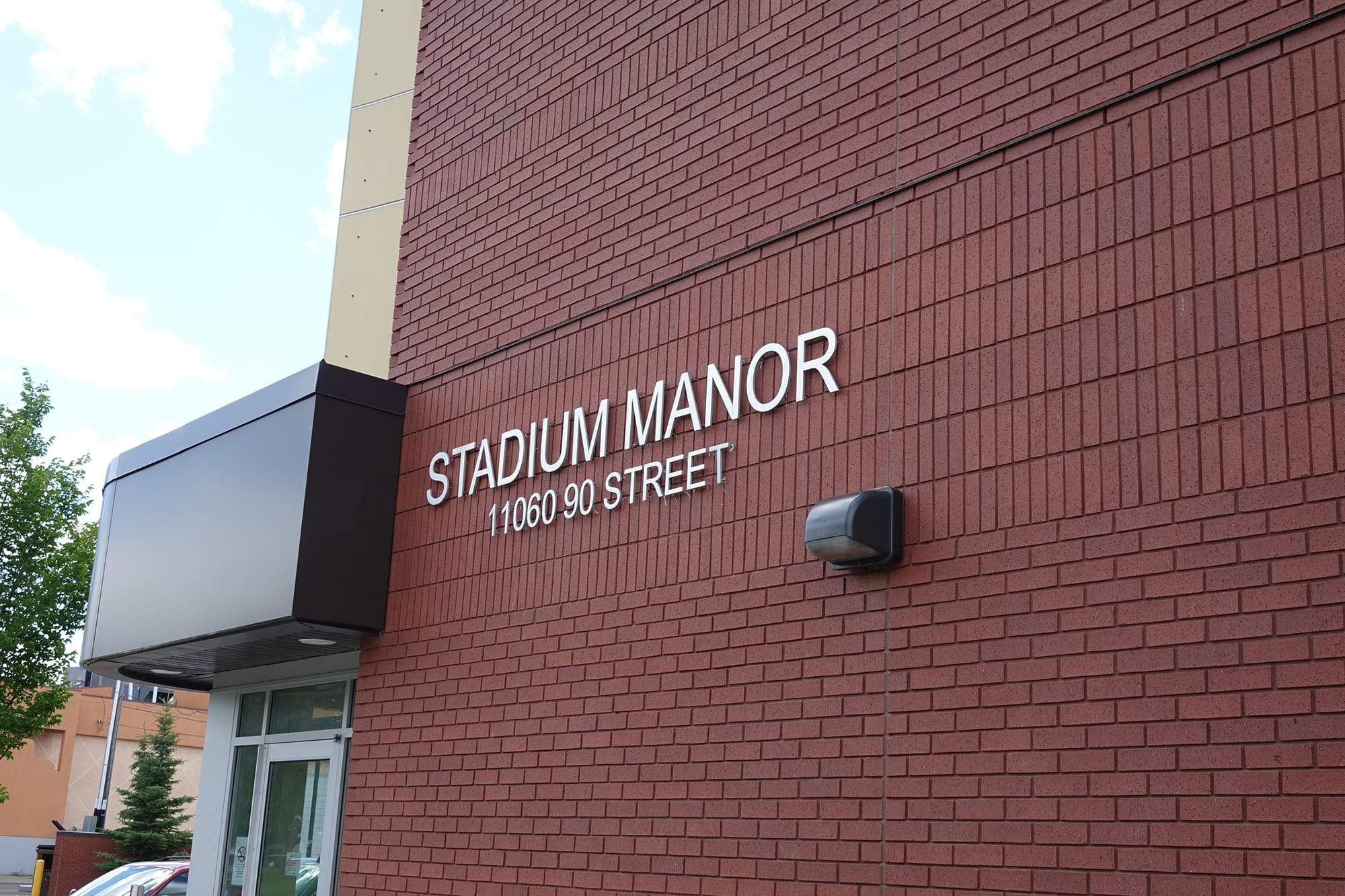 Stadium Manor exterior with signage
